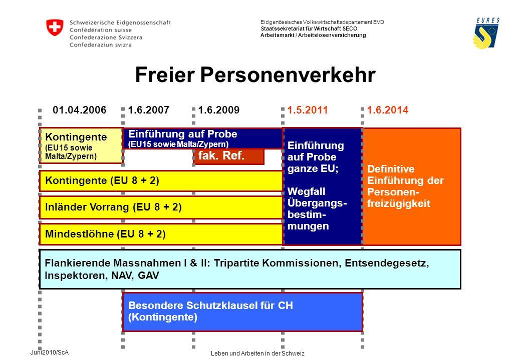 Eidgenössisches Volkswirtschaftsdepartement EVD Staatssekretariat für Wirtschaft SECO Arbeitsmarkt / Arbeitslosenversicherung Juni2010/ScA Leben und Arbeiten in der Schweiz Arbeitsmarkt Arbeitslosigkeit in der Schweiz per Ende Mai 2010: 3.8 % Vorjahr:3.4 % im Kanton Schaffhausen per Ende Mai 2010:3.2 % Vorjahr:3.0 %
