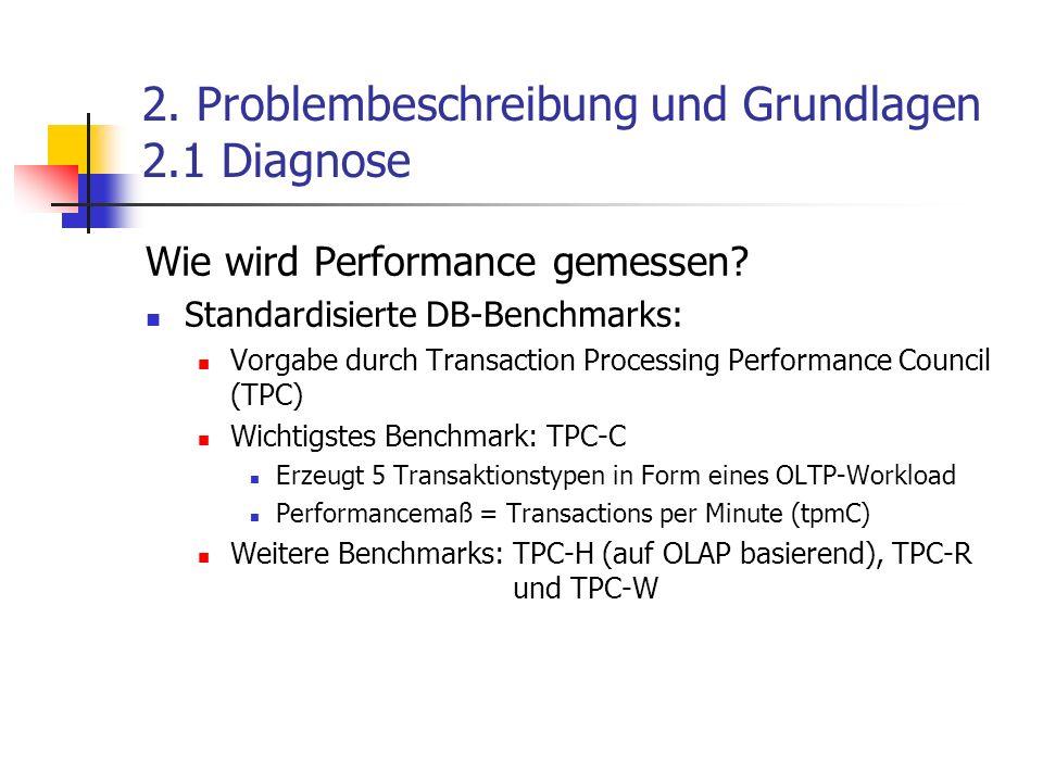 2. Problembeschreibung und Grundlagen 2.1 Diagnose Wie wird Performance gemessen? Standardisierte DB-Benchmarks: Vorgabe durch Transaction Processing