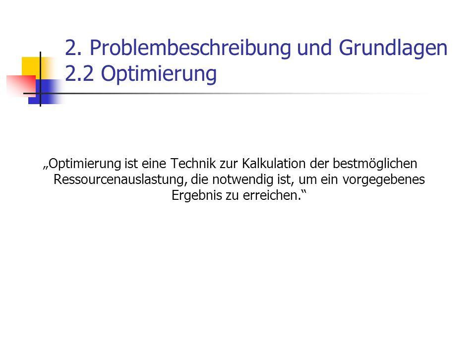 2. Problembeschreibung und Grundlagen 2.2 Optimierung Optimierung ist eine Technik zur Kalkulation der bestmöglichen Ressourcenauslastung, die notwend