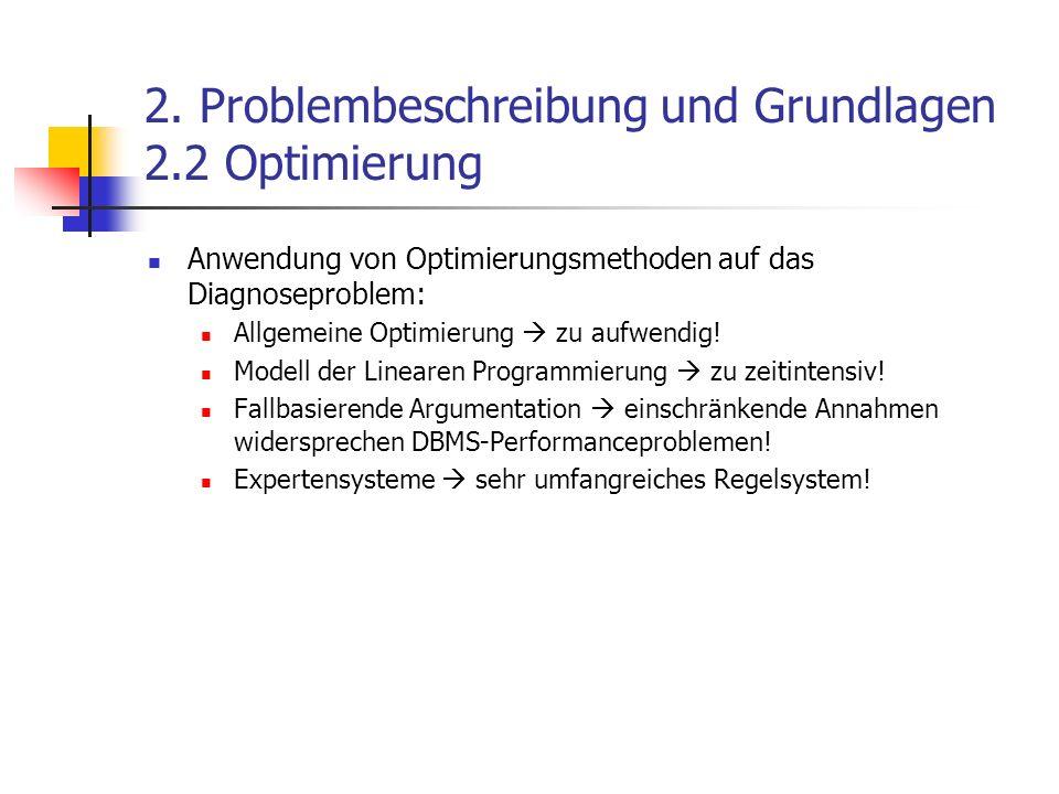 2. Problembeschreibung und Grundlagen 2.2 Optimierung Anwendung von Optimierungsmethoden auf das Diagnoseproblem: Allgemeine Optimierung zu aufwendig!