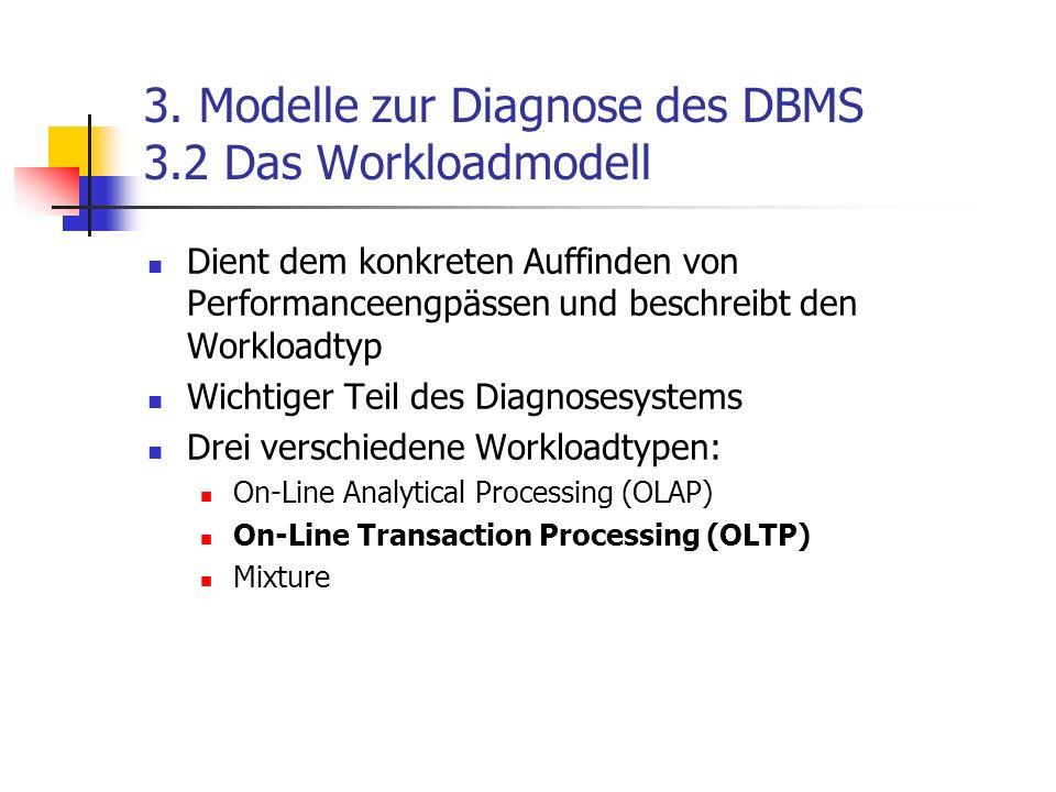 3. Modelle zur Diagnose des DBMS 3.2 Das Workloadmodell Dient dem konkreten Auffinden von Performanceengpässen und beschreibt den Workloadtyp Wichtige