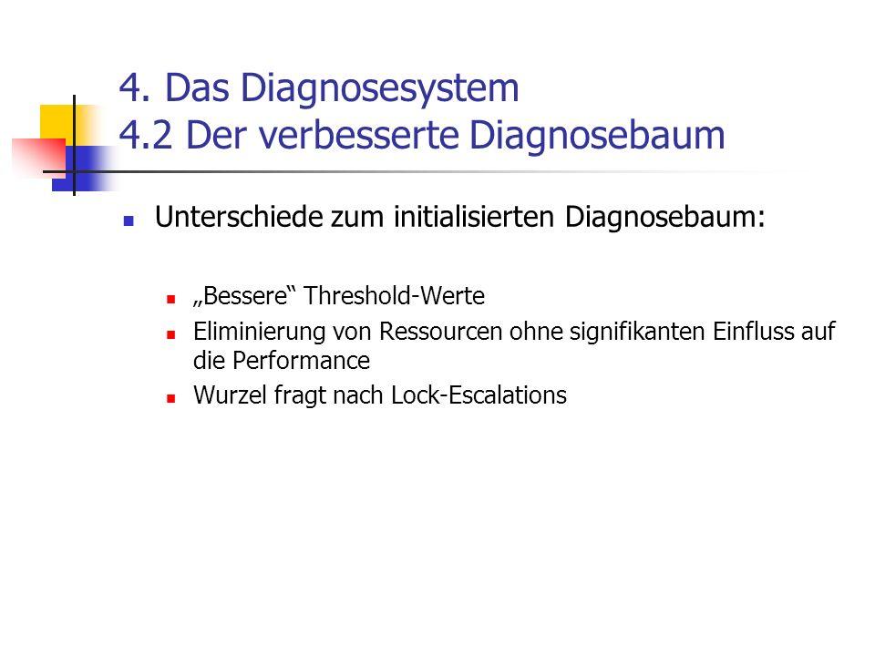 4. Das Diagnosesystem 4.2 Der verbesserte Diagnosebaum Unterschiede zum initialisierten Diagnosebaum: Bessere Threshold-Werte Eliminierung von Ressour