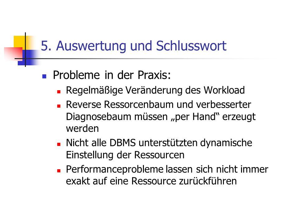 5. Auswertung und Schlusswort Probleme in der Praxis: Regelmäßige Veränderung des Workload Reverse Ressorcenbaum und verbesserter Diagnosebaum müssen