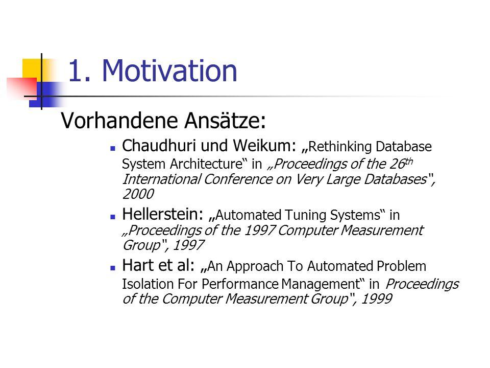 1. Motivation Vorhandene Ansätze: Chaudhuri und Weikum: Rethinking Database System Architecture in Proceedings of the 26 th International Conference o