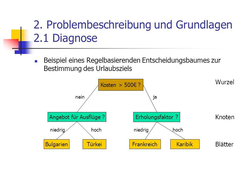 2. Problembeschreibung und Grundlagen 2.1 Diagnose Beispiel eines Regelbasierenden Entscheidungsbaumes zur Bestimmung des Urlaubsziels Kosten > 500 ?