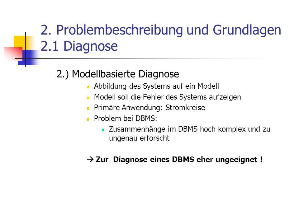 2. Problembeschreibung und Grundlagen 2.1 Diagnose 2.) Modellbasierte Diagnose Abbildung des Systems auf ein Modell Modell soll die Fehler des Systems