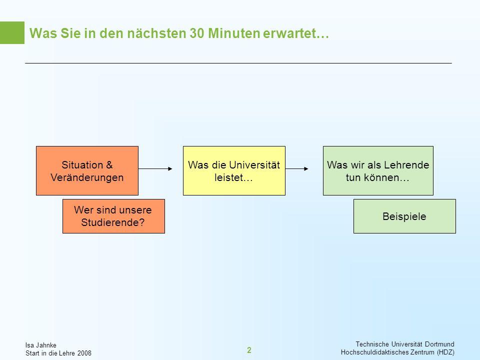 Isa Jahnke Start in die Lehre 2008 Technische Universität Dortmund Hochschuldidaktisches Zentrum (HDZ) 3 Wer sind unsere Studierende von heute?