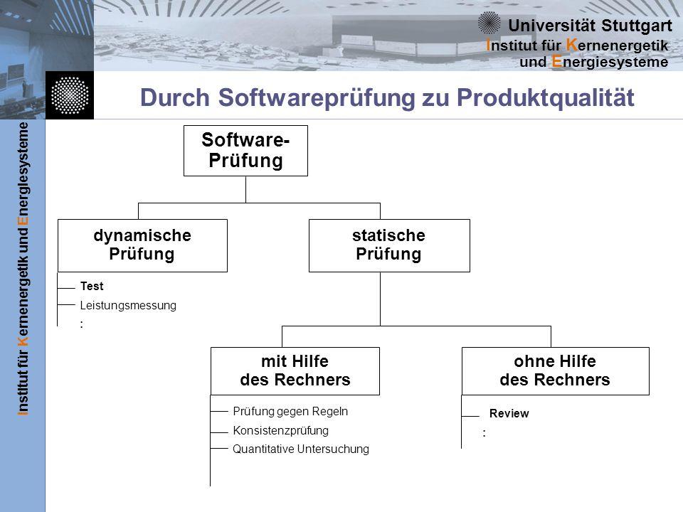 Universität Stuttgart Institut für Kernenergetik und Energiesysteme I nstitut für K ernenergetik und E nergiesysteme Durch Softwareprüfung zu Produktq