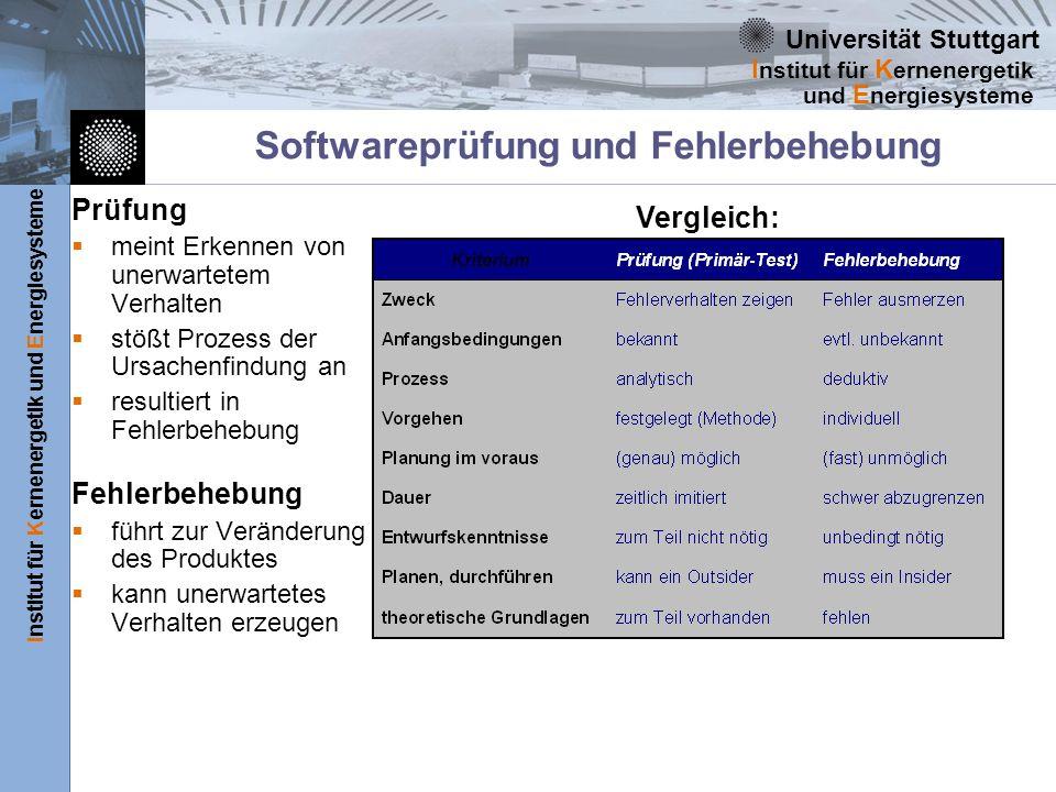 Universität Stuttgart Institut für Kernenergetik und Energiesysteme I nstitut für K ernenergetik und E nergiesysteme Softwareprüfung und Fehlerbehebun