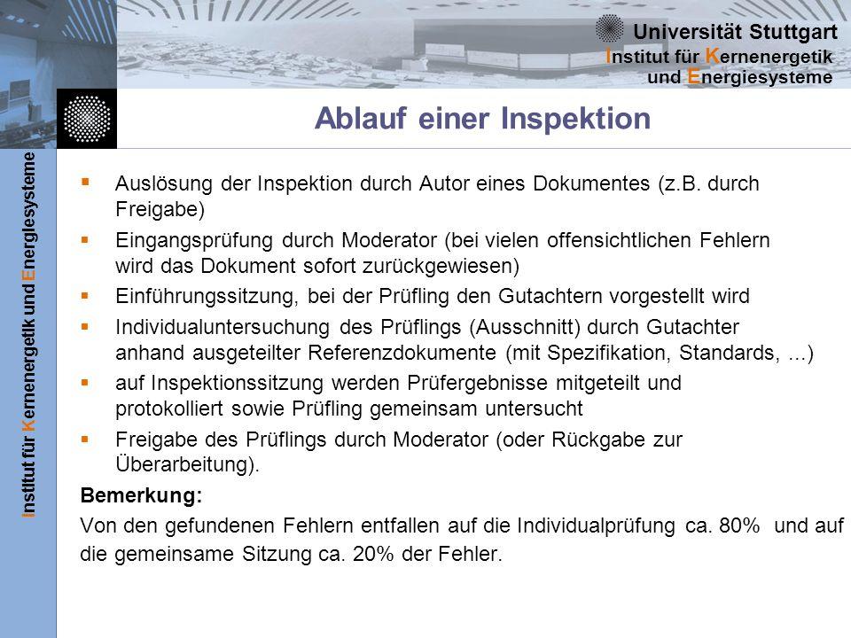 Universität Stuttgart Institut für Kernenergetik und Energiesysteme I nstitut für K ernenergetik und E nergiesysteme Ablauf einer Inspektion Auslösung