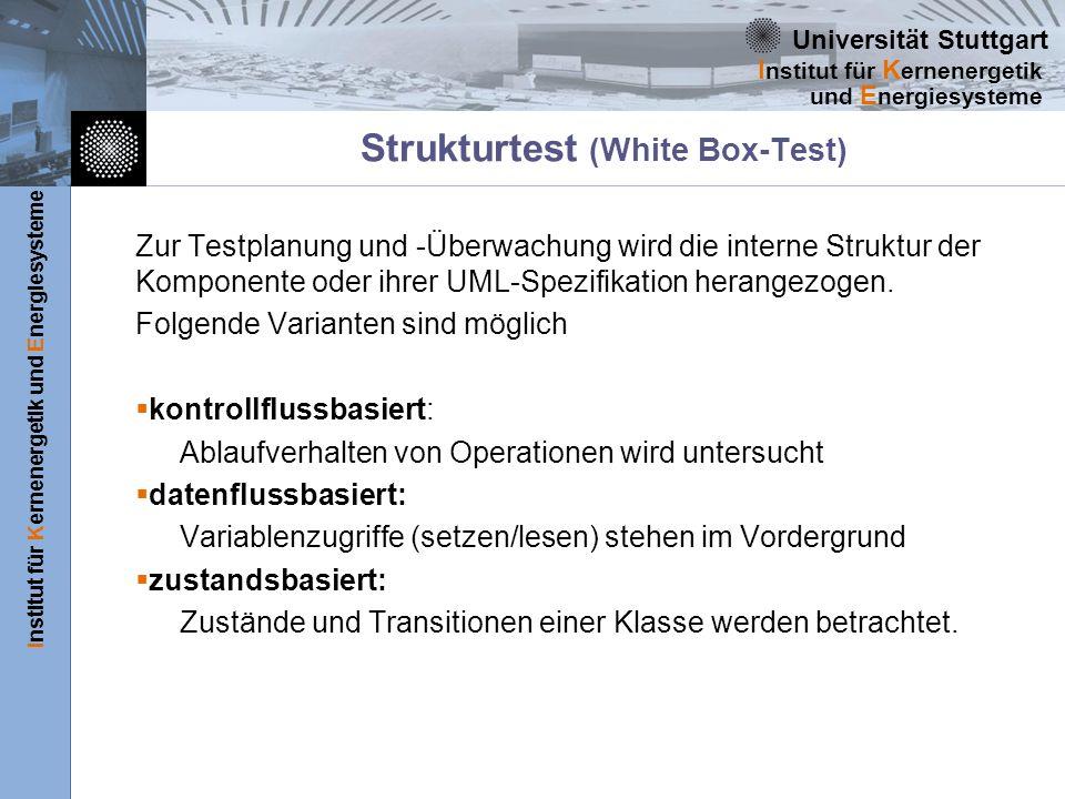 Universität Stuttgart Institut für Kernenergetik und Energiesysteme I nstitut für K ernenergetik und E nergiesysteme Strukturtest (White Box-Test) Zur