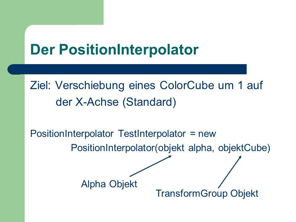 Der PositionInterpolator Ziel: Verschiebung eines ColorCube um 1 auf der X-Achse (Standard) PositionInterpolator TestInterpolator = new PositionInterp