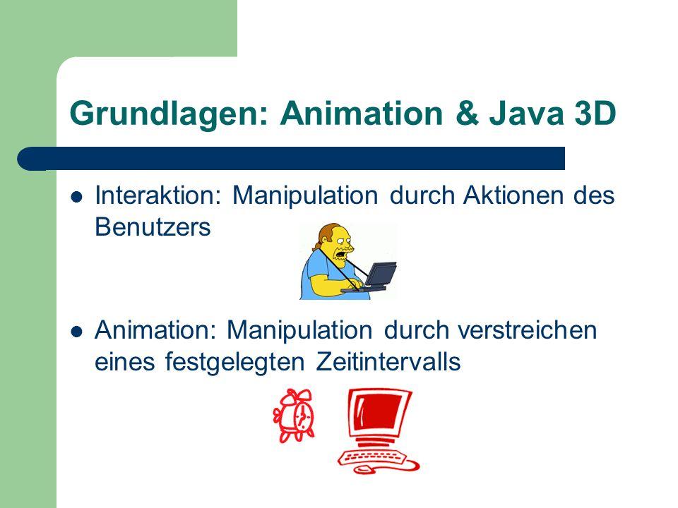 Grundlagen: Animation & Java 3D Interaktion: Manipulation durch Aktionen des Benutzers Animation: Manipulation durch verstreichen eines festgelegten Z