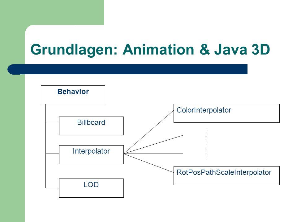 Grundlagen: Animation & Java 3D Behavior Billboard Interpolator LOD ColorInterpolator RotPosPathScaleInterpolator