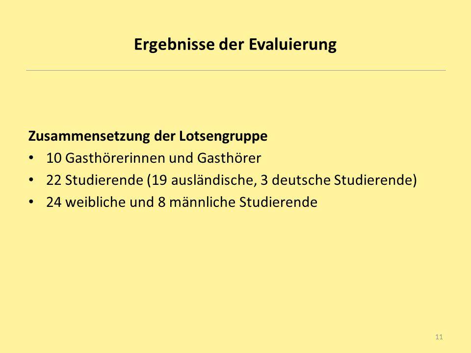 Ergebnisse der Evaluierung Zusammensetzung der Lotsengruppe 10 Gasthörerinnen und Gasthörer 22 Studierende (19 ausländische, 3 deutsche Studierende) 2