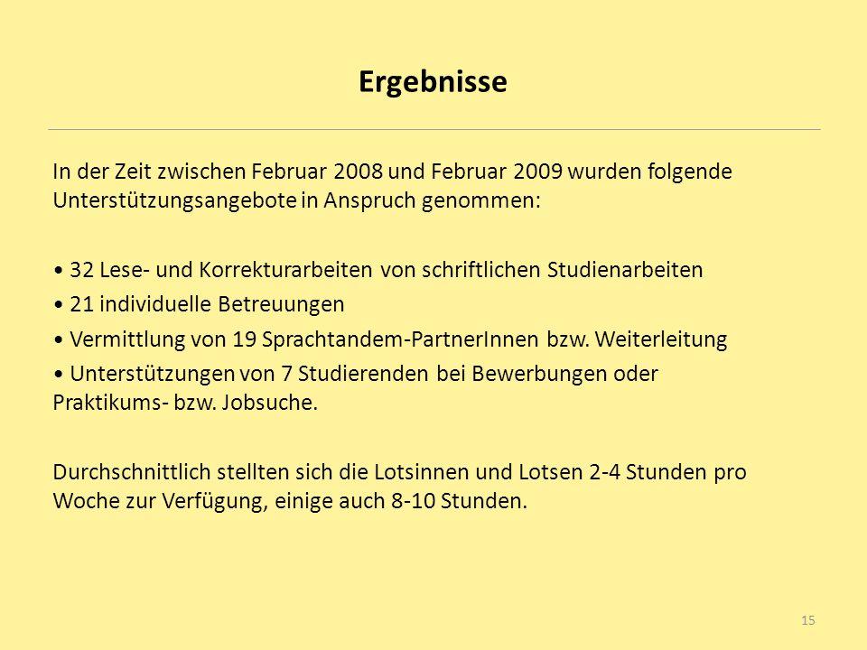 Ergebnisse In der Zeit zwischen Februar 2008 und Februar 2009 wurden folgende Unterstützungsangebote in Anspruch genommen: 32 Lese- und Korrekturarbei