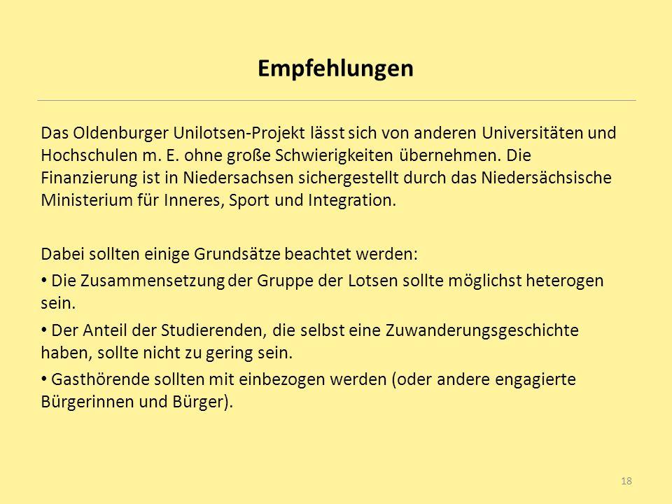 Empfehlungen Das Oldenburger Unilotsen-Projekt lässt sich von anderen Universitäten und Hochschulen m. E. ohne große Schwierigkeiten übernehmen. Die F