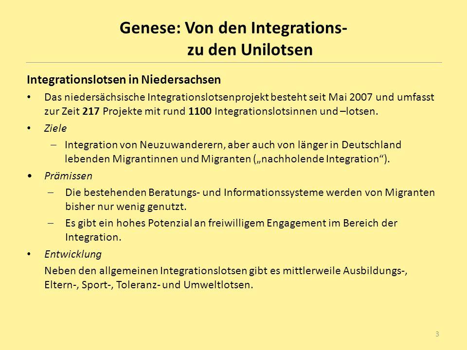 Genese Entwicklung des Unilotsen-Projektes im SoSe 2007 Ziel: Studierende aus dem Ausland oder mit Migrationshintergrund bei Problemen im Studium und im Alltag zu unterstützen, um ihre Studiensituation zu verbessern und ihre Chancen auf einen erfolgreichen Abschluss zu erhöhen.