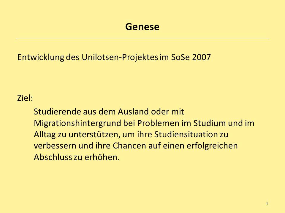 Genese Entwicklung des Unilotsen-Projektes im SoSe 2007 Ziel: Studierende aus dem Ausland oder mit Migrationshintergrund bei Problemen im Studium und
