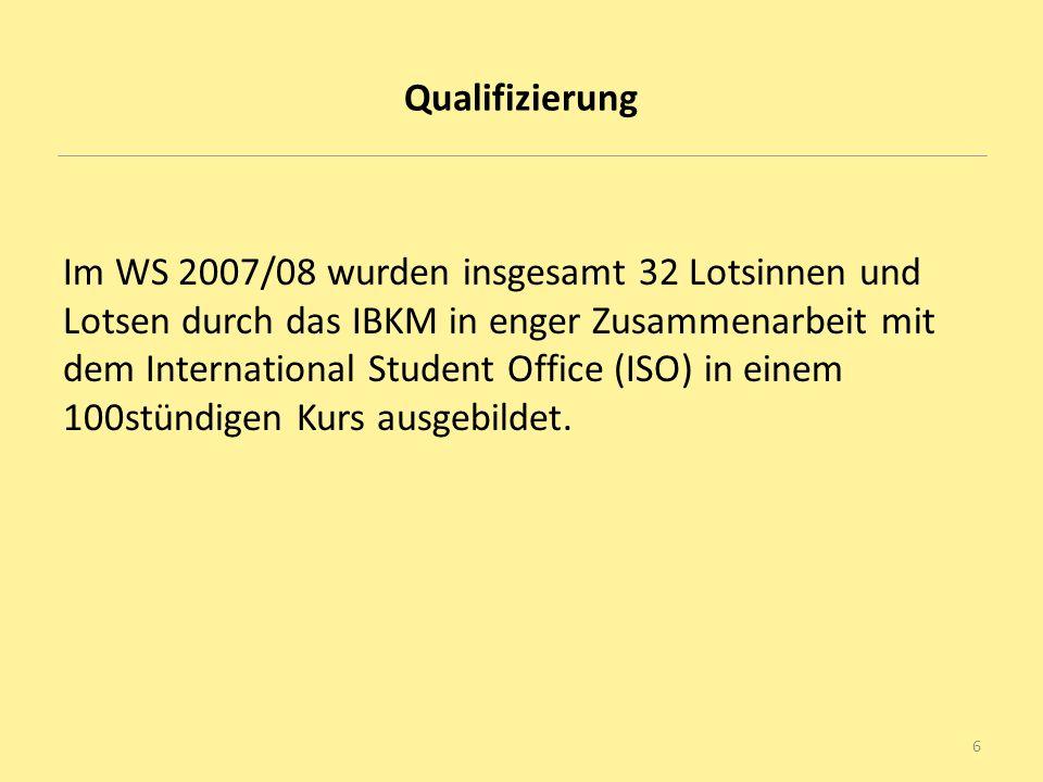 Qualifizierung Im WS 2007/08 wurden insgesamt 32 Lotsinnen und Lotsen durch das IBKM in enger Zusammenarbeit mit dem International Student Office (ISO