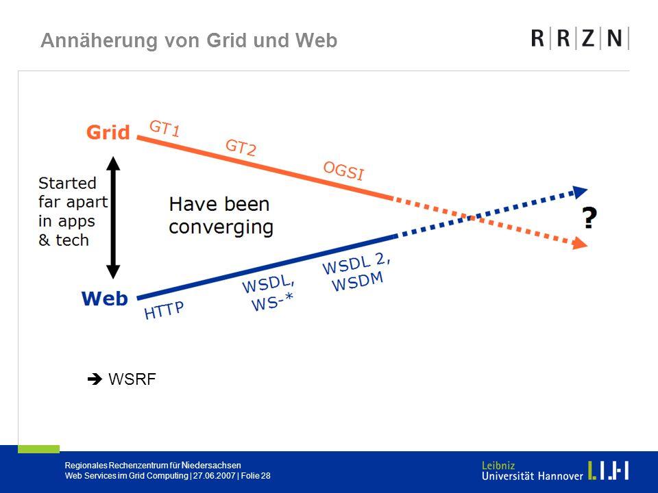Regionales Rechenzentrum für Niedersachsen Web Services im Grid Computing | 27.06.2007 | Folie 28 Annäherung von Grid und Web WSRF