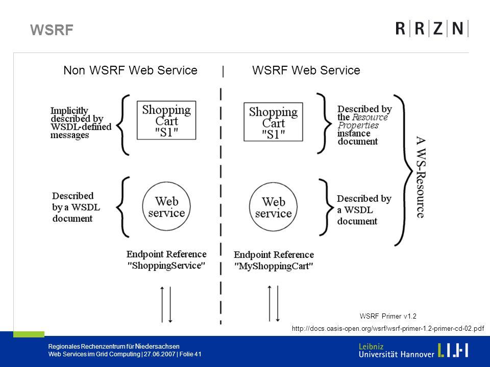 Regionales Rechenzentrum für Niedersachsen Web Services im Grid Computing | 27.06.2007 | Folie 41 WSRF Non WSRF Web Service | WSRF Web Service WSRF Pr