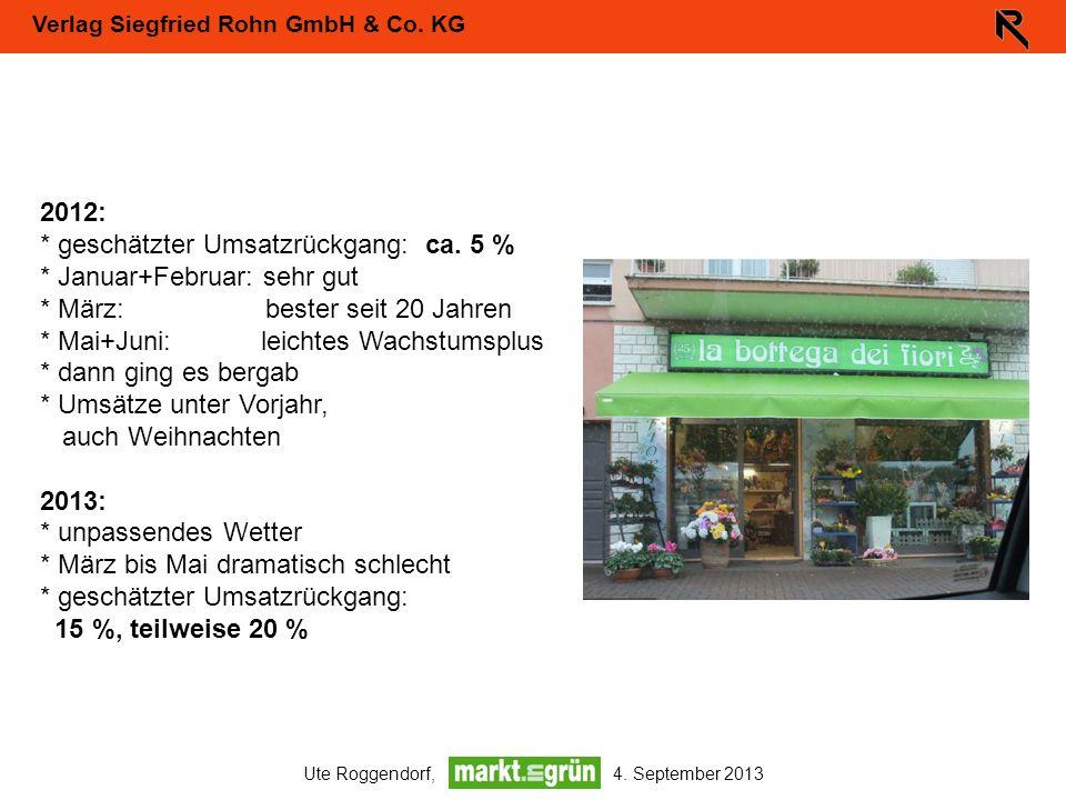 Verlag Siegfried Rohn GmbH & Co. KG Ute Roggendorf, 4. September 2013 2012: * geschätzter Umsatzrückgang: ca. 5 % * Januar+Februar: sehr gut * März: b