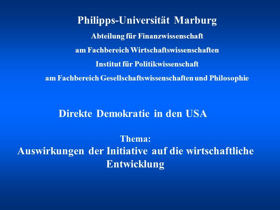 Philipps-Universität Marburg Abteilung für Finanzwissenschaft am Fachbereich Wirtschaftswissenschaften Institut für Politikwissenschaft am Fachbereich