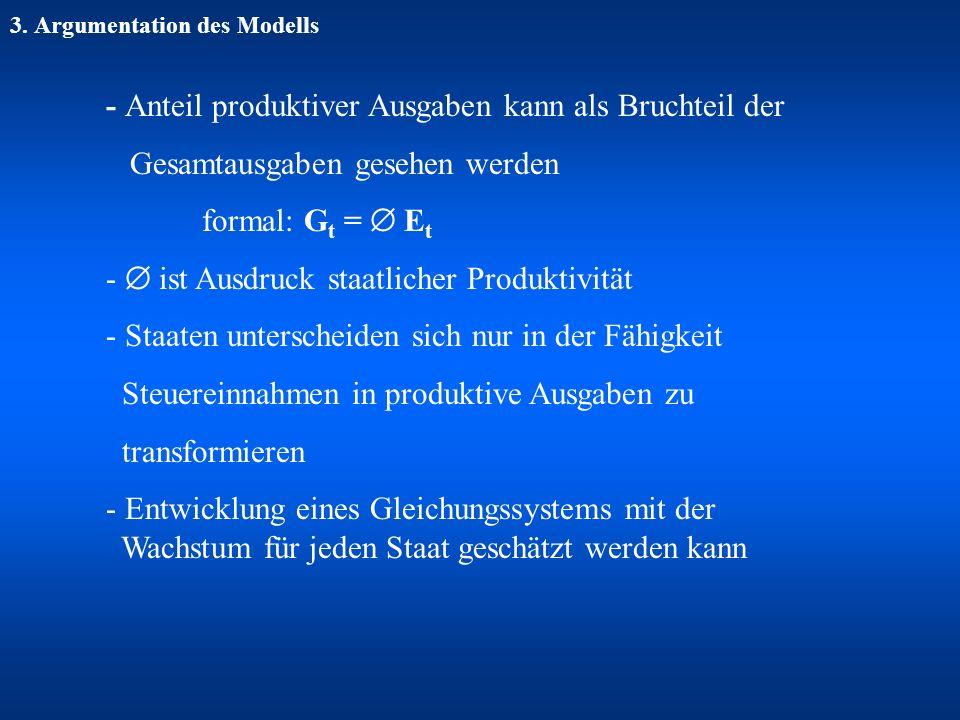 3. Argumentation des Modells - Anteil produktiver Ausgaben kann als Bruchteil der Gesamtausgaben gesehen werden formal: G t = E t - ist Ausdruck staat