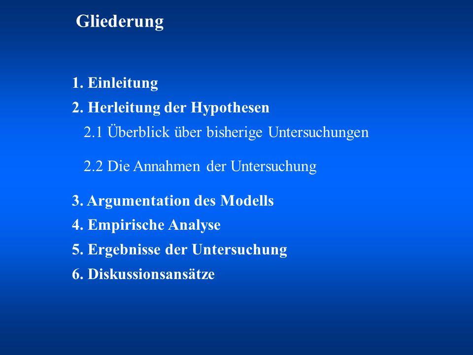 Gliederung 1. Einleitung 2. Herleitung der Hypothesen 2.1 Überblick über bisherige Untersuchungen 2.2 Die Annahmen der Untersuchung 3. Argumentation d