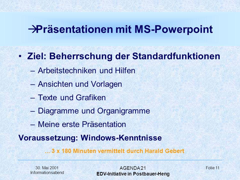 30. Mai 2001 Informationsabend AGENDA 21 EDV-Initiative in Postbauer-Heng Folie 10 à Tabellenkalkulation mit MS-Excel Ziel: Beherrschung der Standardf