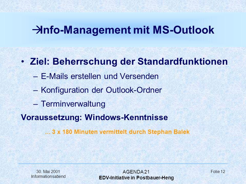 30. Mai 2001 Informationsabend AGENDA 21 EDV-Initiative in Postbauer-Heng Folie 11 à Präsentationen mit MS-Powerpoint Ziel: Beherrschung der Standardf