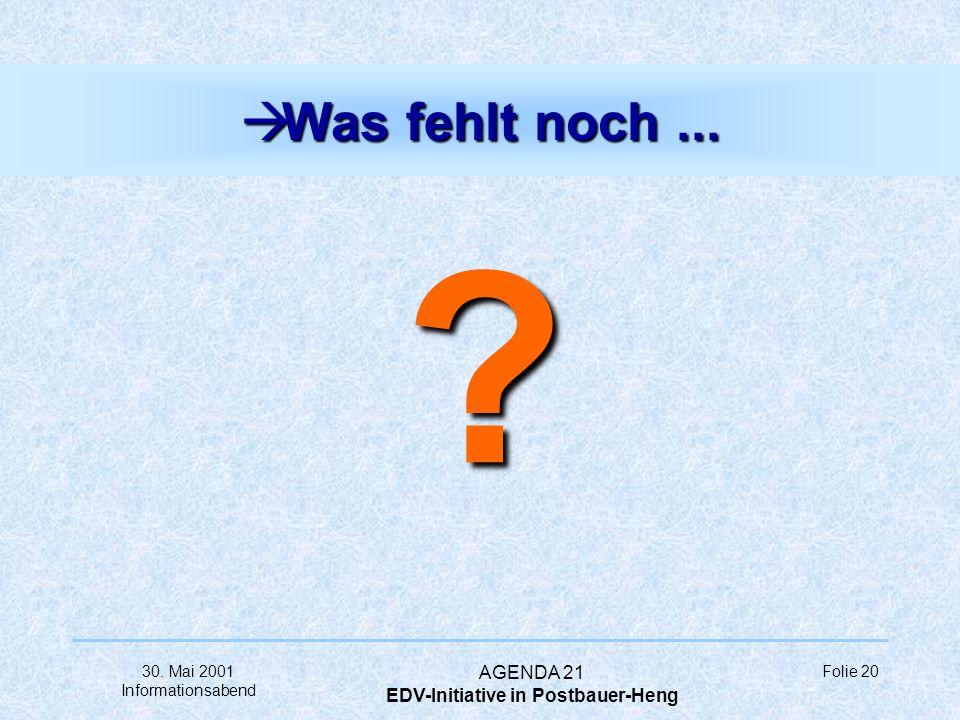 30. Mai 2001 Informationsabend AGENDA 21 EDV-Initiative in Postbauer-Heng Folie 19 à... ihre Erwartungen... angestrebtes Wissen Seminar- angebot PC-Gr