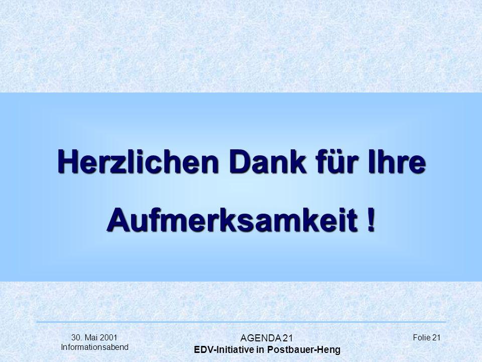 30. Mai 2001 Informationsabend AGENDA 21 EDV-Initiative in Postbauer-Heng Folie 20 à Was fehlt noch... ?