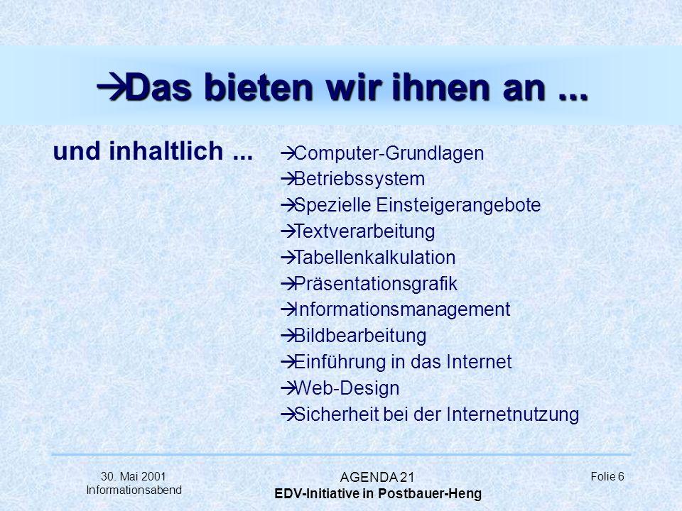 30. Mai 2001 Informationsabend AGENDA 21 EDV-Initiative in Postbauer-Heng Folie 5 à Das bieten wir Ihnen... organisatorisch... à im Rahmen der Volksho