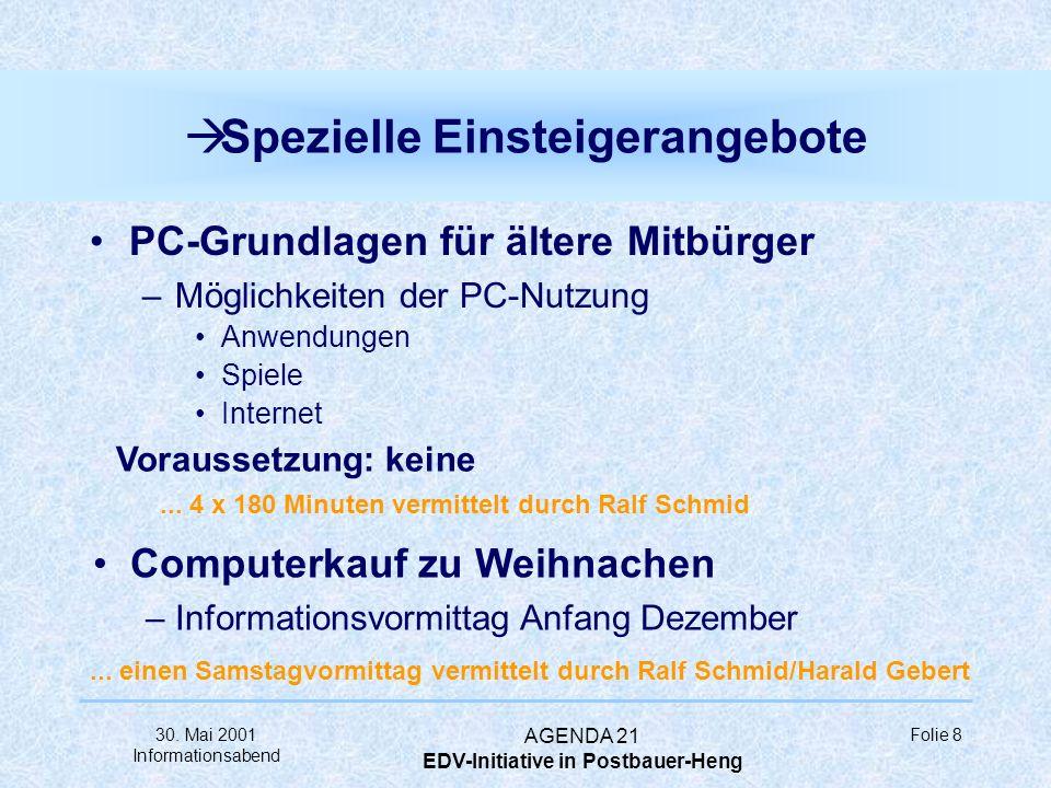30. Mai 2001 Informationsabend AGENDA 21 EDV-Initiative in Postbauer-Heng Folie 7 à Grundlagen Computer-Grundlagen –Hardware (PC, Monitor, Maus, usw.)