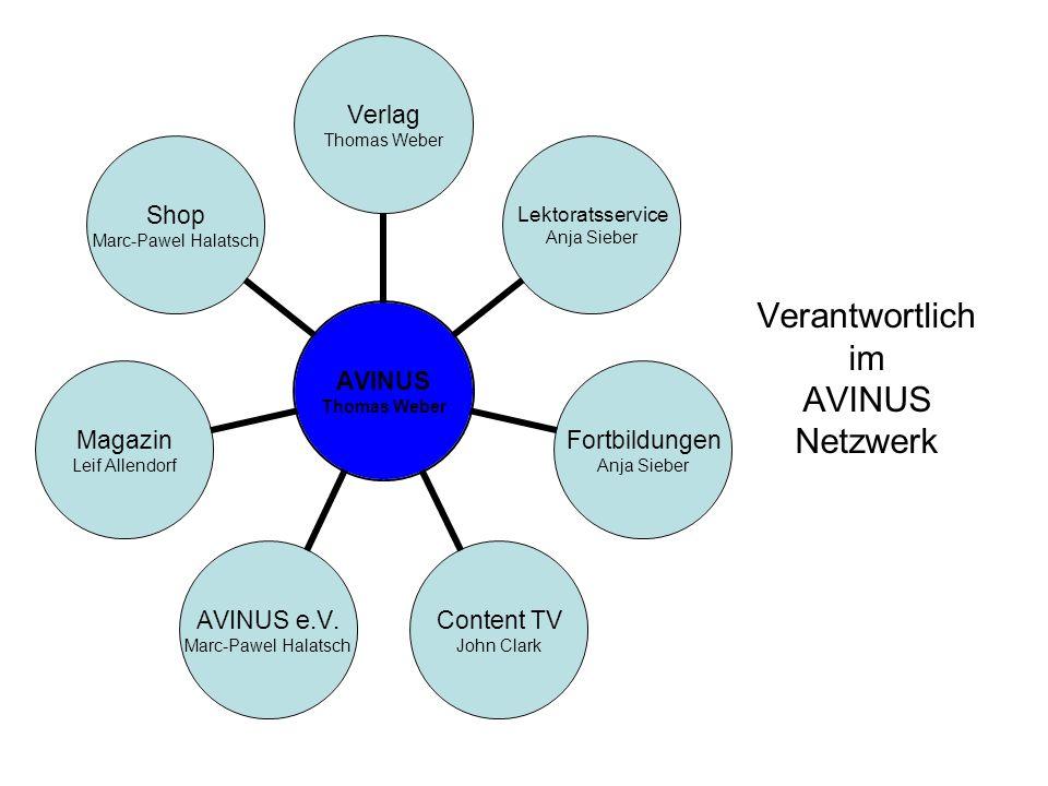 Verantwortlich im AVINUS Netzwerk AVINUS Thomas Weber Verlag Thomas Weber Lektoratsservice Anja Sieber Fortbildungen Anja Sieber Content TV John Clark AVINUS e.V.