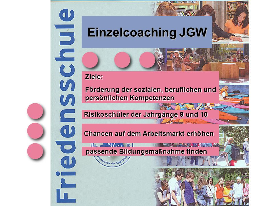 Einzelcoaching JGW Risikoschüler der Jahrgänge 9 und 10 Ziele: Förderung der sozialen, beruflichen und persönlichen Kompetenzen Chancen auf dem Arbeitsmarkt erhöhen passende Bildungsmaßnahme finden passende Bildungsmaßnahme finden
