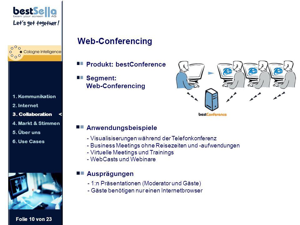 Folie 10 von 23 Web-Conferencing Produkt: bestConference Segment: Web-Conferencing Anwendungsbeispiele - Visualisiserungen während der Telefonkonferenz - Business Meetings ohne Reisezeiten und -aufwendungen - Virtuelle Meetings und Trainings - WebCasts und Webinare Ausprägungen - 1:n Präsentationen (Moderator und Gäste) - Gäste benötigen nur einen Internetbrowser 1.