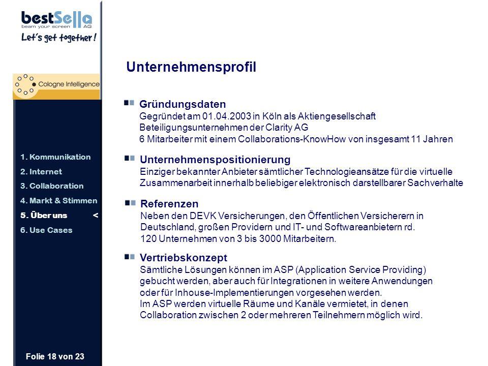 Folie 18 von 23 Unternehmensprofil Gründungsdaten Gegründet am 01.04.2003 in Köln als Aktiengesellschaft Beteiligungsunternehmen der Clarity AG 6 Mitarbeiter mit einem Collaborations-KnowHow von insgesamt 11 Jahren Unternehmenspositionierung Einziger bekannter Anbieter sämtlicher Technologieansätze für die virtuelle Zusammenarbeit innerhalb beliebiger elektronisch darstellbarer Sachverhalte Vertriebskonzept Sämtliche Lösungen können im ASP (Application Service Providing) gebucht werden, aber auch für Integrationen in weitere Anwendungen oder für Inhouse-Implementierungen vorgesehen werden.