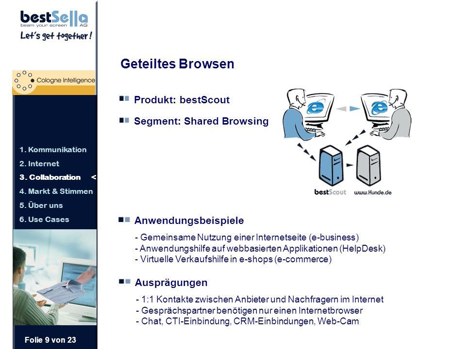 Folie 9 von 23 Geteiltes Browsen Produkt: bestScout Segment: Shared Browsing Anwendungsbeispiele - Gemeinsame Nutzung einer Internetseite (e-business) - Anwendungshilfe auf webbasierten Applikationen (HelpDesk) - Virtuelle Verkaufshilfe in e-shops (e-commerce) Ausprägungen - 1:1 Kontakte zwischen Anbieter und Nachfragern im Internet - Gesprächspartner benötigen nur einen Internetbrowser - Chat, CTI-Einbindung, CRM-Einbindungen, Web-Cam 1.