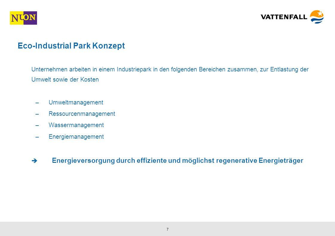 7 Eco-Industrial Park Konzept Unternehmen arbeiten in einem Industriepark in den folgenden Bereichen zusammen, zur Entlastung der Umwelt sowie der Kosten –Umweltmanagement –Ressourcenmanagement –Wassermanagement –Energiemanagement Energieversorgung durch effiziente und möglichst regenerative Energieträger