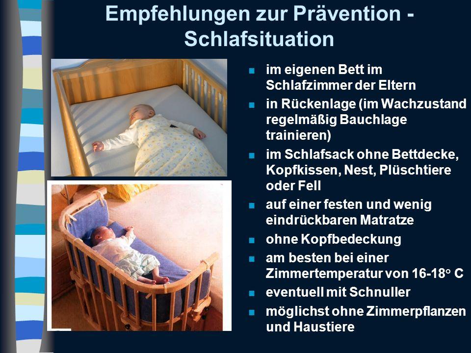 Empfehlungen zur Prävention - Schlafsituation n im eigenen Bett im Schlafzimmer der Eltern n in Rückenlage (im Wachzustand regelmäßig Bauchlage traini