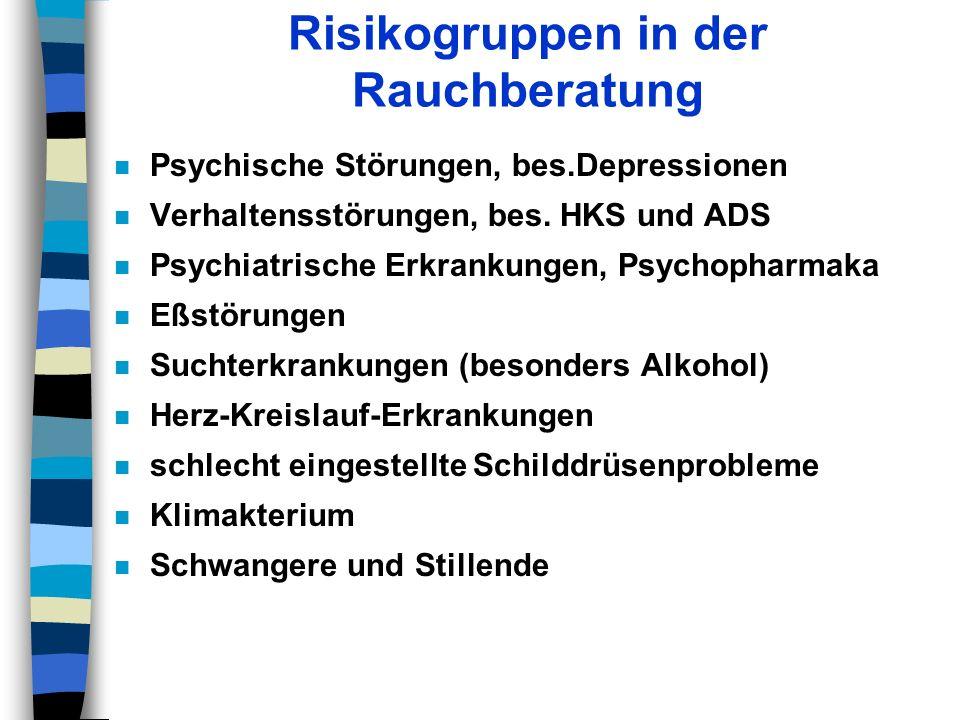 Risikogruppen in der Rauchberatung n Psychische Störungen, bes.Depressionen n Verhaltensstörungen, bes. HKS und ADS n Psychiatrische Erkrankungen, Psy