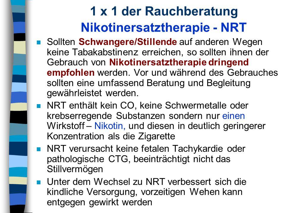 1 x 1 der Rauchberatung Nikotinersatztherapie - NRT n Sollten Schwangere/Stillende auf anderen Wegen keine Tabakabstinenz erreichen, so sollten ihnen
