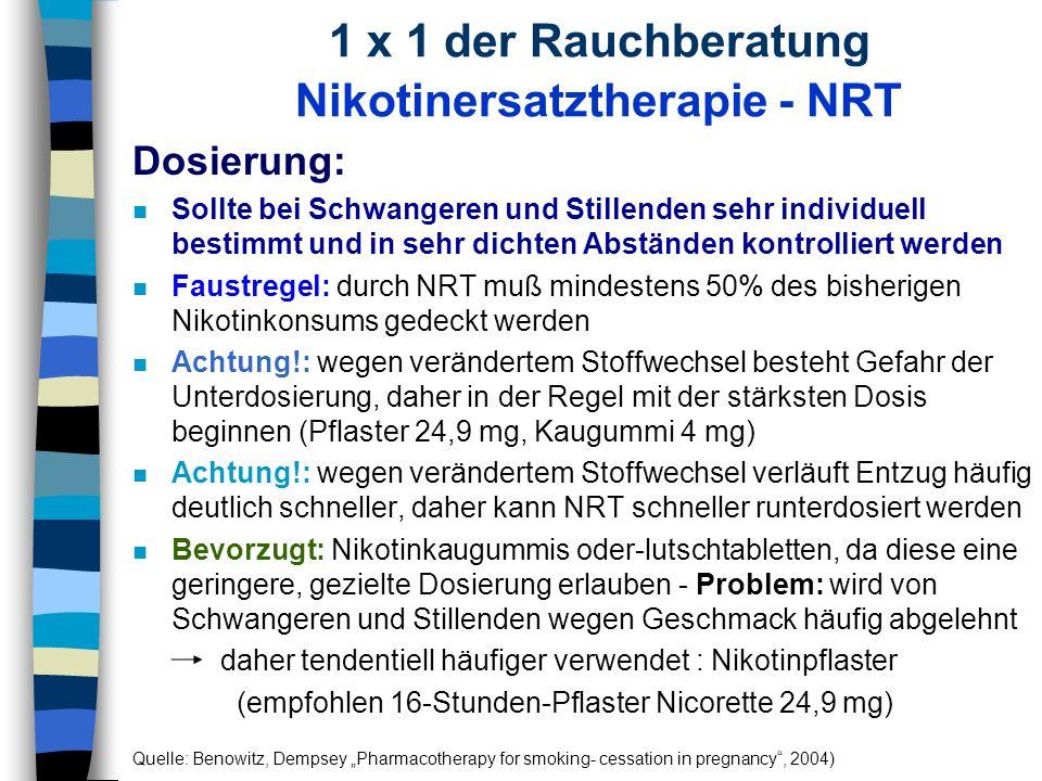 1 x 1 der Rauchberatung Nikotinersatztherapie - NRT Dosierung: n Sollte bei Schwangeren und Stillenden sehr individuell bestimmt und in sehr dichten A