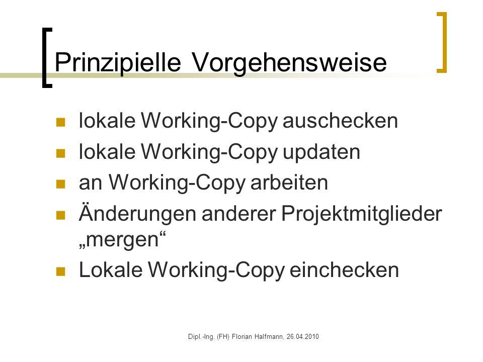 Dipl.-Ing. (FH) Florian Halfmann, 26.04.2010 Prinzipielle Vorgehensweise lokale Working-Copy auschecken lokale Working-Copy updaten an Working-Copy ar