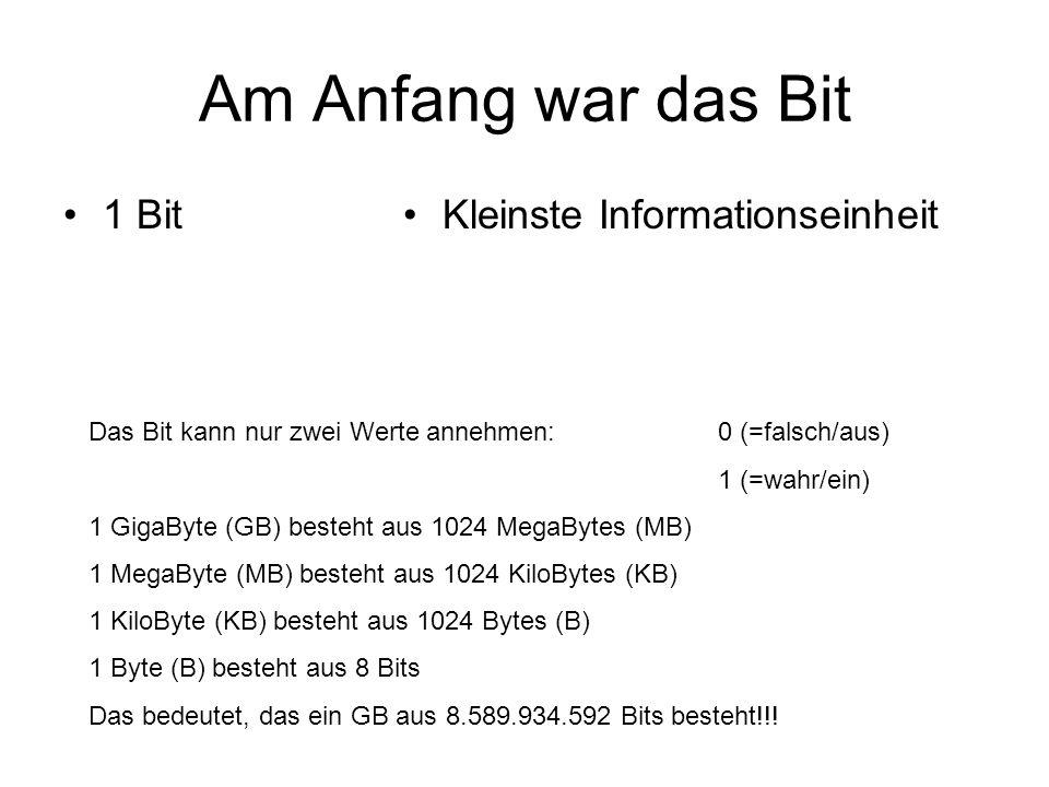 Am Anfang war das Bit 1 BitKleinste Informationseinheit Das Bit kann nur zwei Werte annehmen: 0 (=falsch/aus) 1 (=wahr/ein) 1 GigaByte (GB) besteht au