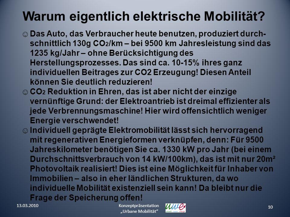 10 Konzeptpräsentation Urbane Mobilität Warum eigentlich elektrische Mobilität? Das Auto, das Verbraucher heute benutzen, produziert durch- schnittlic