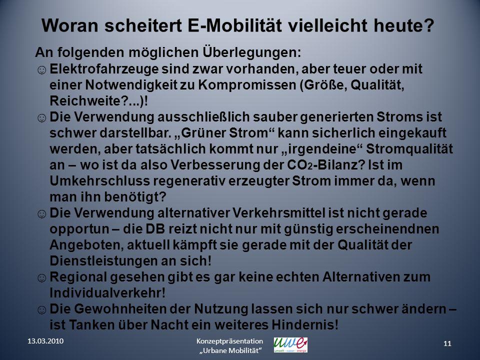 11 Konzeptpräsentation Urbane Mobilität Woran scheitert E-Mobilität vielleicht heute? An folgenden möglichen Überlegungen: Elektrofahrzeuge sind zwar